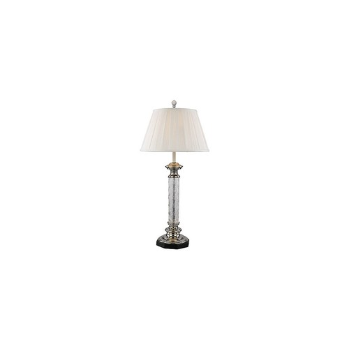 Silver Candlestick Etched Glass Lamp