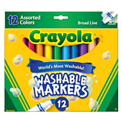 Crayola Washable Markers, Broad Line, Assorted Classic Colors, Box Of 12