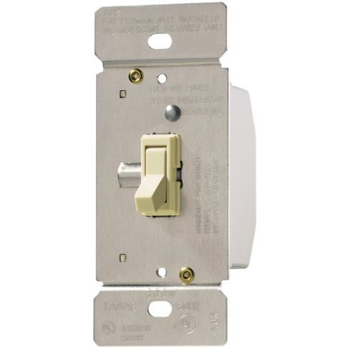 Eaton TI061-A TRACE 600-watt 125-volt Single Pole 3-Way Toggle Dimmer for Incandescent and Halogen Lighting, Non-Preset, Almond [Almond]