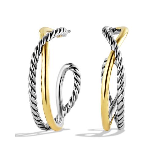 Crossover Hoop Earrings with G