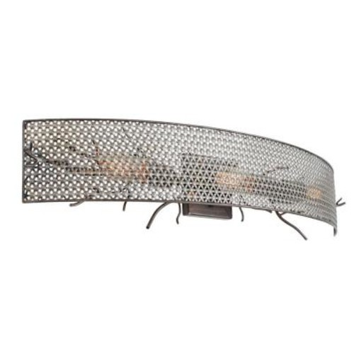 Varaluz Treefold 3-Light Steel Bath Vanity Light with Recycled Steel Mesh
