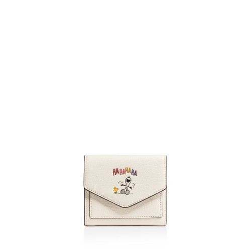 Boxed Small Wallet in Refined Natural Pebble Leather with Snoopy