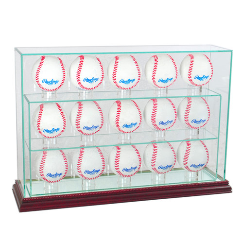 Cherry Finish 15 Baseball Upright Display Case