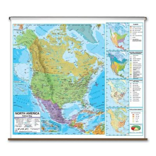 Universal Map State Wall Maps on Rollers w/ Backboards; Virginia
