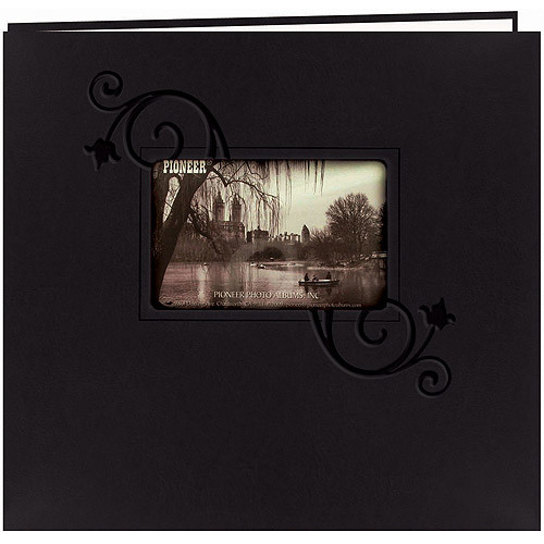 Pioneer 12 Inch by 12 Inch Postbound Embossed Leatherette Frame Cover Memory Book, Black With Floral [Black Floral]