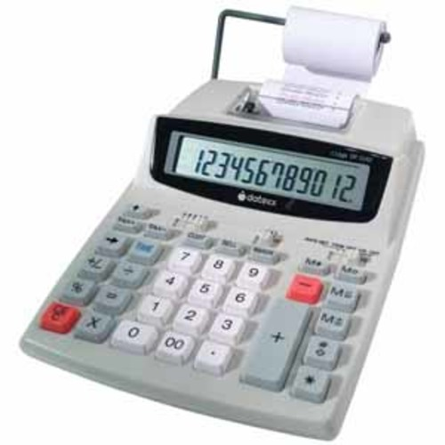 Datexx DP-32AD 12 digit AC/DC 2 color printing calculator including adaptor