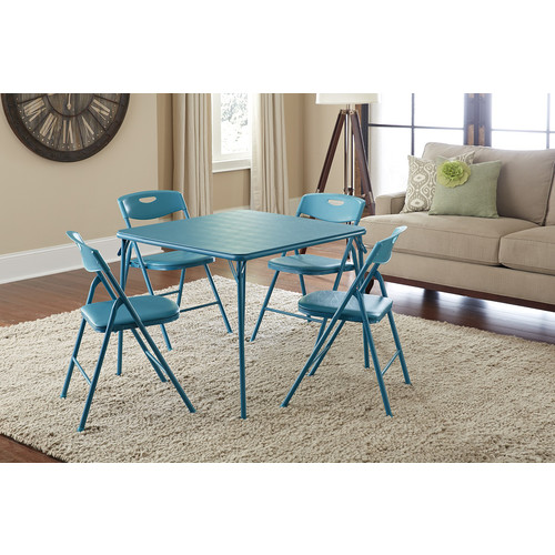 Cosco Home and Office Products 5 Piece Teal Folding Table and Chair Set