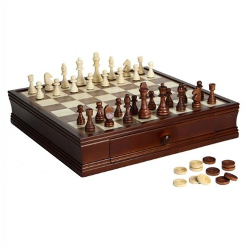 Hathaway Prodigy Wooden Chess and Checkers Game Set - Walnut