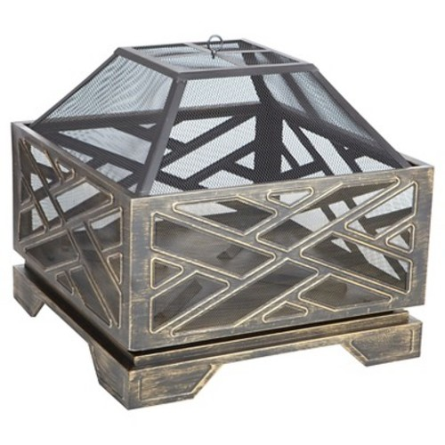 Fire Sense Catalano Square Wood Burning Fire Pit - Golden And Bronze