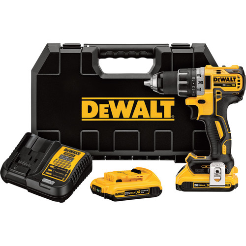 DEWALT 20V Li-Ion MAX XR Compact Cordless Electric Drill/Driver Kit With 2 Batteries  Brushless, 1/2in. Chuck, 2000 RPM,
