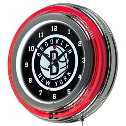 Trademark Global Chrome Double Ring Analog Neon Wall Clock, Brooklyn Nets NBA