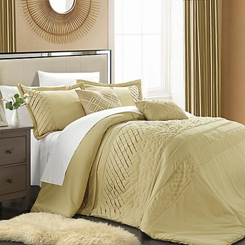 Chic Home Claire 5-Piece Queen Comforter Set in Champagne