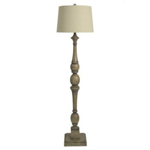 Distressed Baluster Floor Lamp in Grey with Fabric Shade