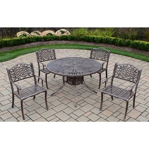 Cast Aluminum Outdoor Dining Set, with 48-inch Table, and 4 Chairs
