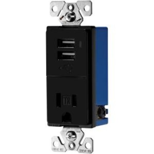 Eaton 15 Amp Decorator USB Charger with Electrical Outlet, Black