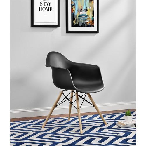 Dorel Black Mid Century Modern Molded Arm Chair with Wood Leg