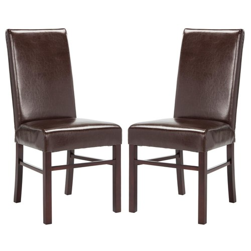 Safavieh Brown Leather Dining Chair (Set of 2)