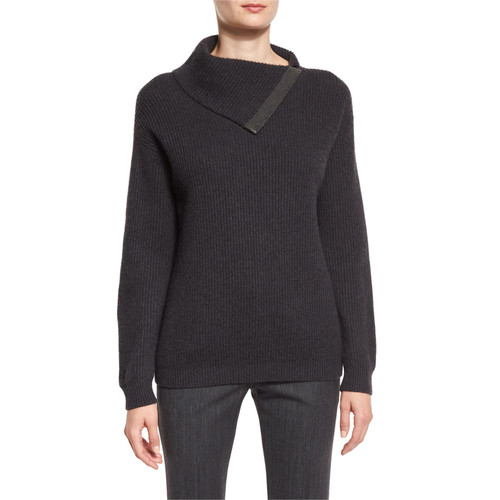 BRUNELLO CUCINELLI Ribbed Cashmere Folded Sweater, Anthracite