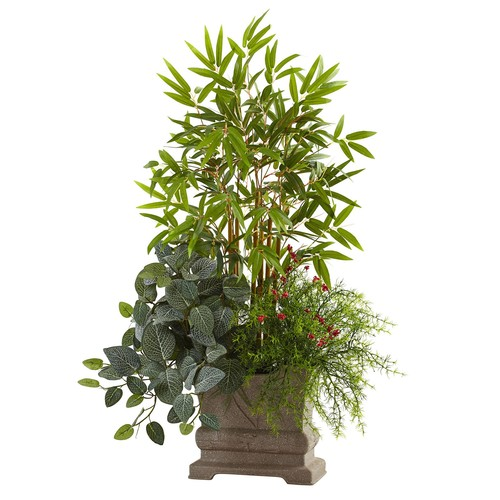 Nearly Natural Mixed Mini Bamboo, Fittonia and Springeri Silk Plant