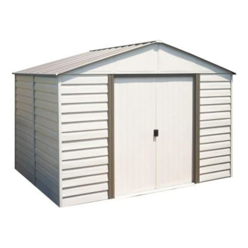 Arrow Milford 10 ft. x 12 ft. Vinyl-Coated Steel Storage Shed with Floor Kit