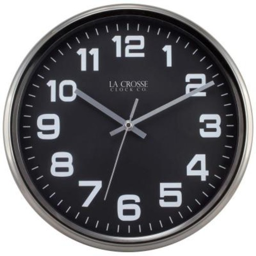 La Crosse Technology 12 in. H Round Metal Analog Wall Clock with Gunmetal