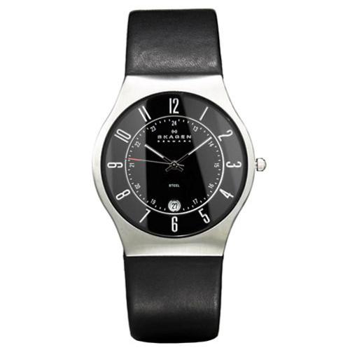 Black Dial Black Leather Men's Watch