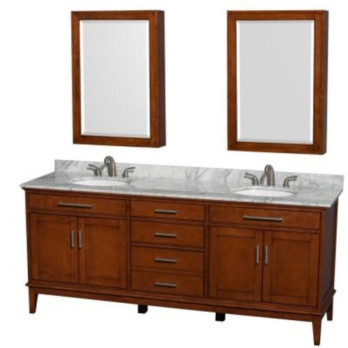 Wyndham Collection Hatton 80 in. W Double Vanity in Light Chestnut with Marble Vanity Top in Carrara White, Oval Sink and Medicine Cabinet