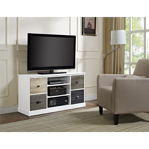 Dorel Home Furnishings Mercer White Storage TV Console with Multicolored Door Fronts