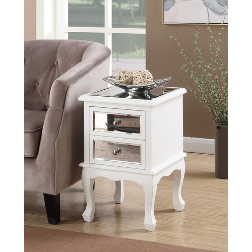 Convenience Concepts Gold Coast Queen Anne Mirrored End Table