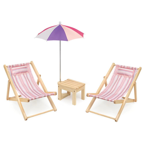 Badger Basket Two Doll Beach Chair Set with Table & Umbrella