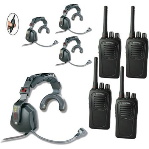 Eartec SC-1000 4-User Two-Way Radio System with 4x Ultra S Inline PTT Headsets USSC4000IL