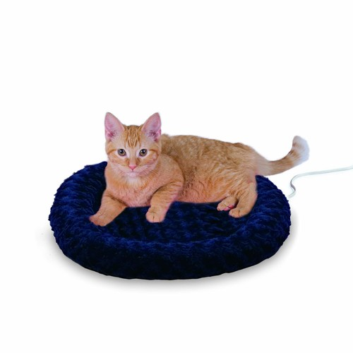 K&H Manufacturing Thermo-Kitty Fashion Splash Heated Cat Bed [Blue, Small (18