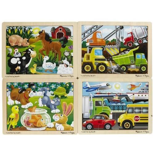 Melissa & Doug Wooden Jigsaw Puzzles Set: Vehicles, Pets, Construction, and Farm (4 puzzles)