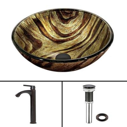 VIGO Glass Vessel Sink in Zebra and Linus Faucet Set in Antique Rubbed Bronze