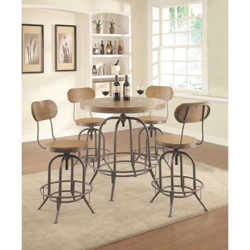 Coaster Weathered Brown Rustic Industrial Adjustable Bar Stool/Rec Room/Bar Tables (Set of 2)