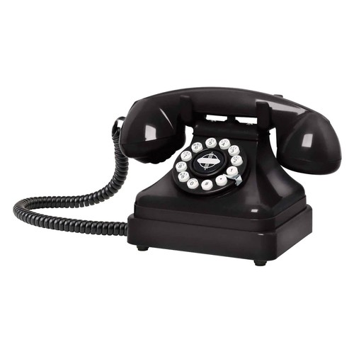 Crosley CR62-BK Kettle Classic Desk Phone with Push Button Technology, Black [Black]