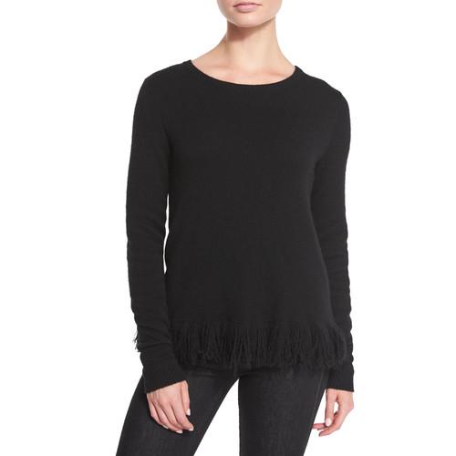 RALPH LAUREN COLLECTION Fringe-Trim Cashmere Sweater, Black