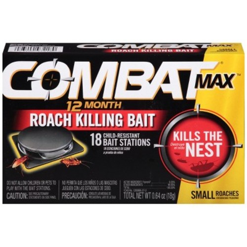Combat Max 12 Month Roach Killing Bait, Small Roach Bait Station, 18 Count [Small Roach (18 Count), Bait Stations]