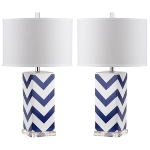 Safavieh Lighting 30.5-inch Chevron Long Neck Ceramic Navy Table Lamps (Set of 2)