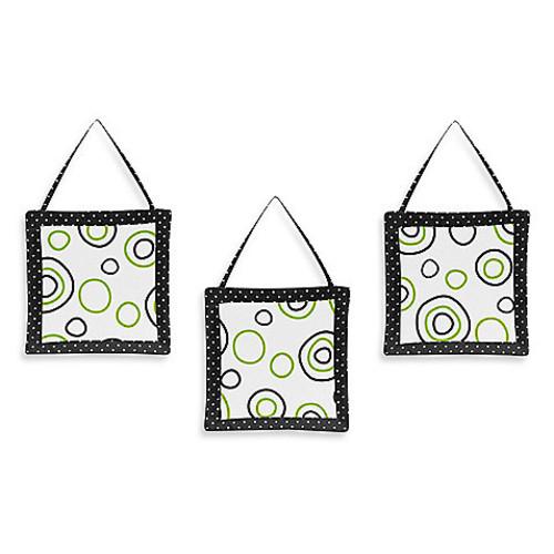 Sweet Jojo Designs Spirodot 3-Piece Wall Hanging Set in Lime/Black