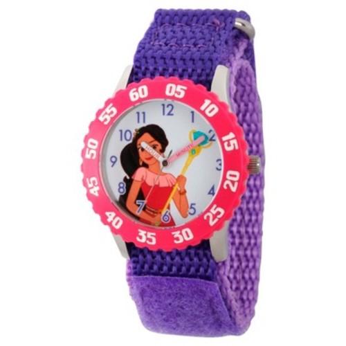 Girls' Disney Elena of Avalor Stainless Steel Time Teacher Watch with Pink Bezel - Purple