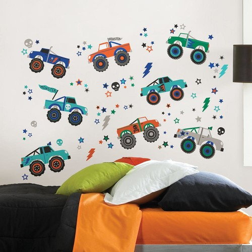 WallPOPs Multi-Color Outrageous Trucks Wall Decal