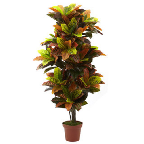 Nearly Natural Artificial Plants Silk Croton 5-foot Tree