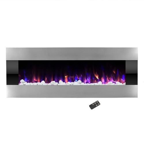 Northwest 54 in. Stainless Steel Electric Fireplace with Wall Mount and Remote in Silver