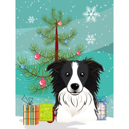 Caroline's Treasures Christmas Tree 2-Sided Garden Flag; Border Collie