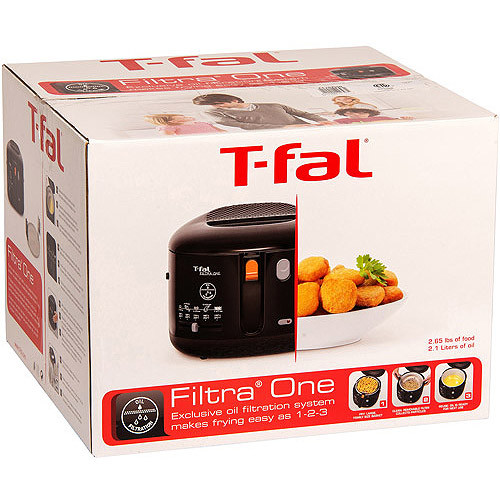 T-fal FF1628 Filtra One 1600-Watt Cool Touch Exterior 2.1-Liter Oil Capacity Electric Deep Fryer, 2.65-Pound, Black [2.1-Liter]