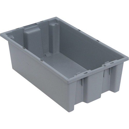 Quantum Storage Stack and Nest Tote Bin  18in. x 11in. x 6in. Size, Gray, Carton of 6