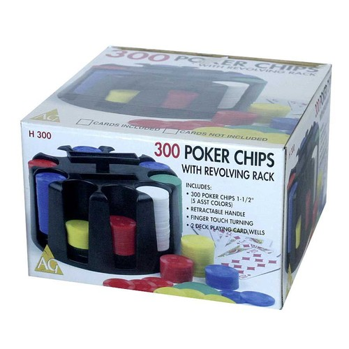 AreYouGame 300 Poker Chips with Revolving Rack