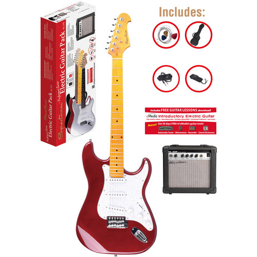 ST Style Electric Guitar Pack with 10 Watt Amp, Red