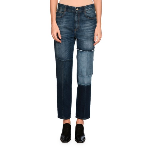 STELLA MCCARTNEY High-Waist Patchwork Skinny Jeans, Blue